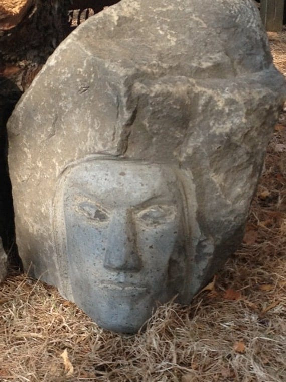 Hand carved basalt stone face sculpture prince of