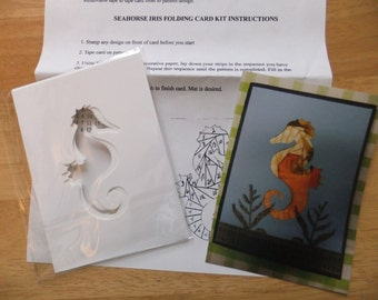 Iris Folding Kit    Seahorse includes pattern and 6 card fronts