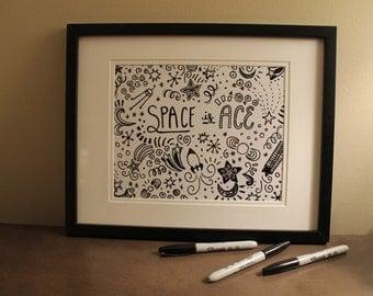 """Space is Ace - original Libbydoodle design - 8x10"""" PRINT"""