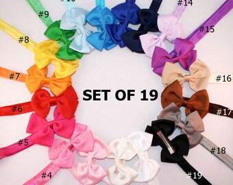 19 baby headband - DETACHABLE headband and bow - baby girl headband - baby bow girl headband - infant headband baby girl - cheap HF15