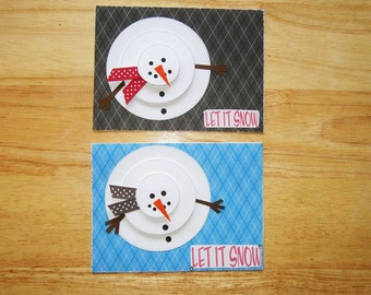 Snowman Christmas Card - Christmas Card Set - Xmas Card Set - Snowman Card - Let It Snow - Winter Card - Homemade Card - Set of Two (2)