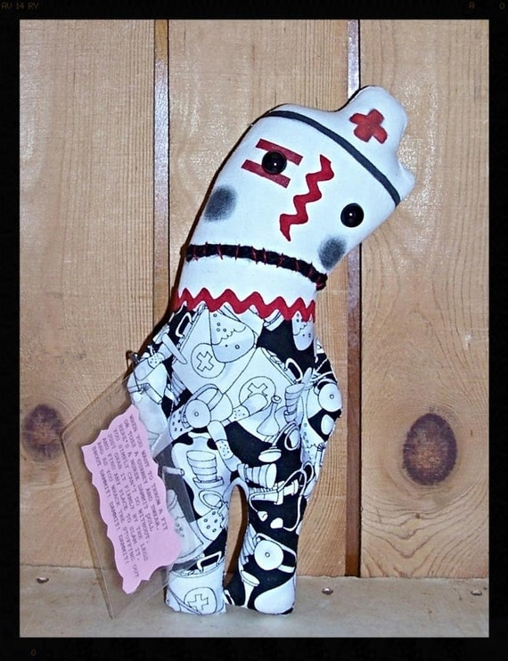 Folk Art Whimsical Whimsey Uglee Nurse Dammit Damn It Stress Anger Swear Art DoLL  2014#1