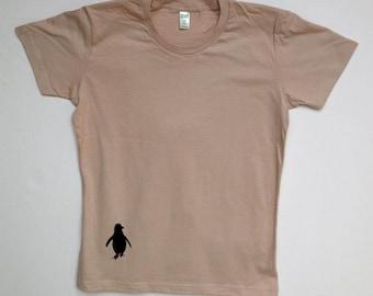 Women's Silkscreened Organic Cotton Fine Jersey- Short Sleeve Crew Tee Penguin LARKSHAPES Tee