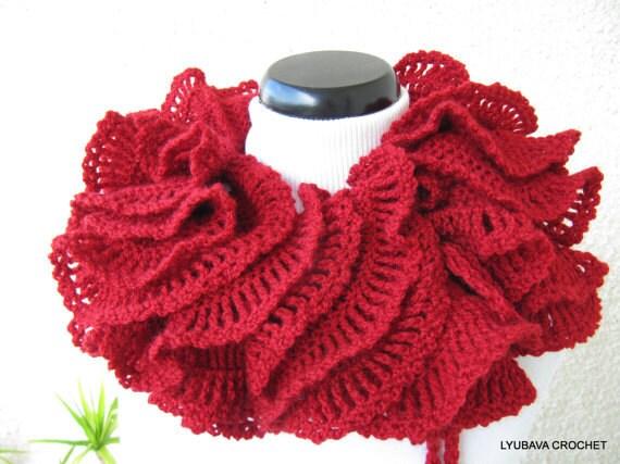 Crochet Ruffle Scarf : Crochet Ruffle Scarf - Red Ruffle Scarf - Christmas Scarf - Unique ...