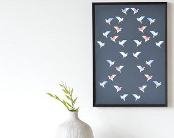 Origami Flock Art Print