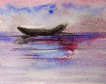 Boat Painting, Original Acrylic on Paper,, Sea painting, Boat painting, Small painting, Modern Painting
