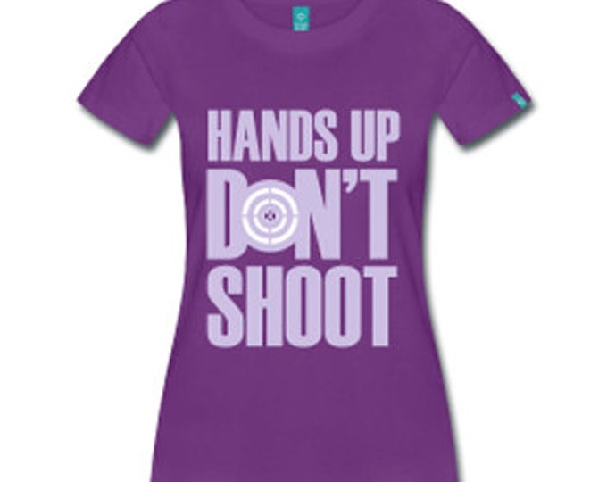 Hands Up Don't Shoot Women's Fitted T-Shirt - Purple