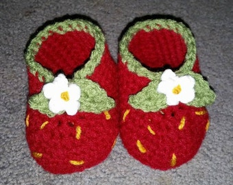Custom Crochet Strawberry Baby Booties