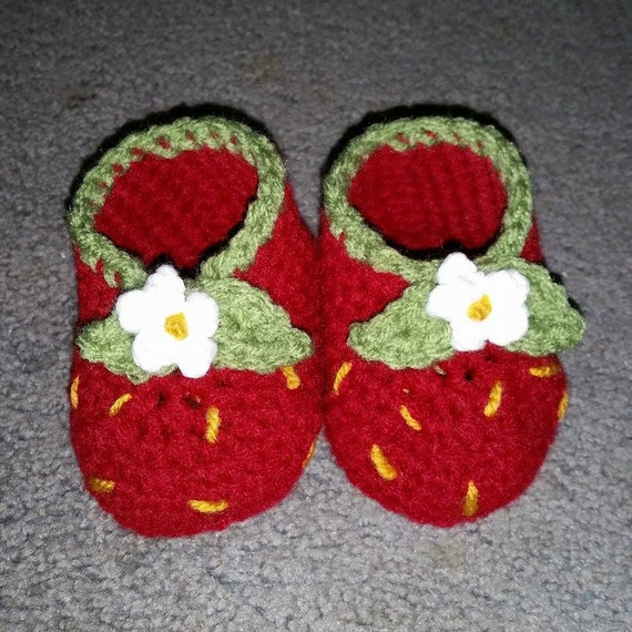 Custom Crochet Strawberry Baby Booties
