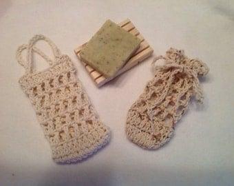 Crochet Cotton Soap Saver, soap sack, soap bag, you choose the color!