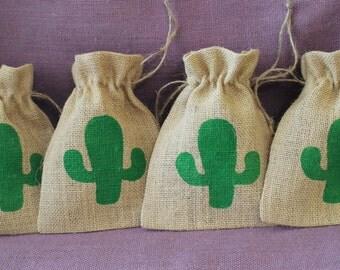 Rustic Burlap Saguaro cactus favor bags.  5 x 7 burlap cactus bags. burlap sacks.  Party, wedding, shower, favor bags.  Custom wedding bags.