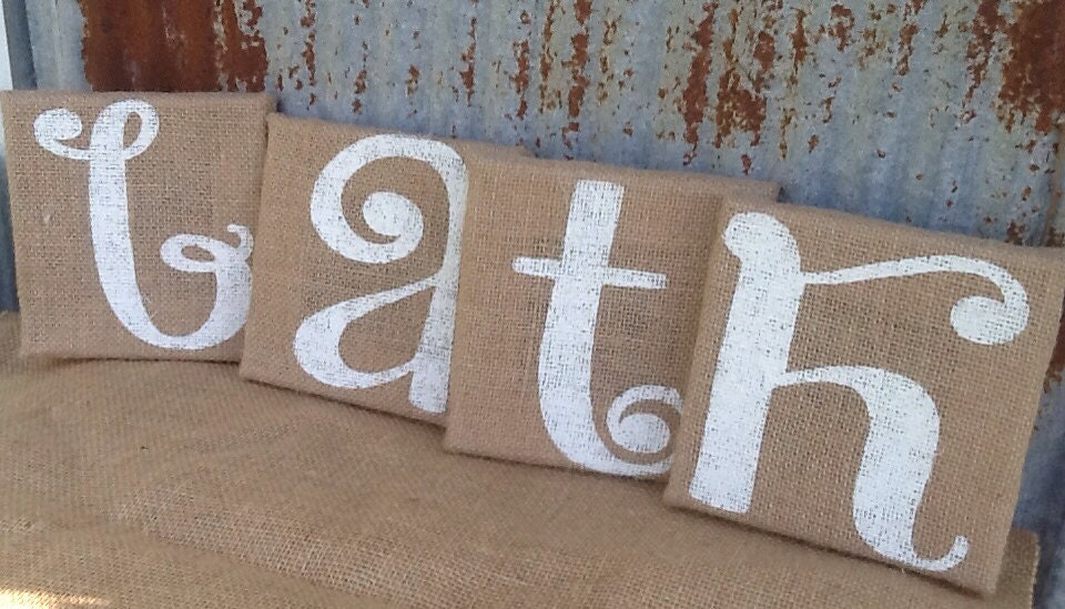 SALE SALE SALE Burlap Canvas Bathroom Decor By