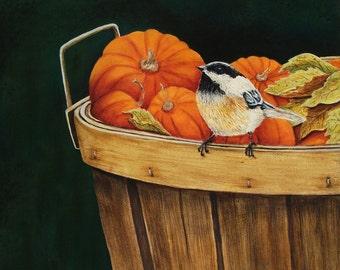 Chickadee with Pumpkins ~ Original Painting