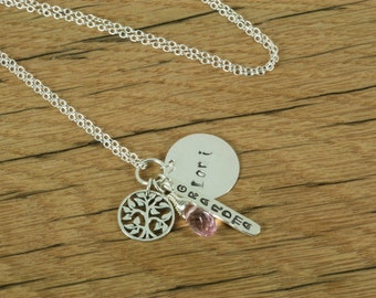 Sterling Silver Personalized Hand Stamped Grandma Charm Necklace with Name