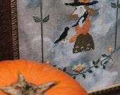 THEODORA instant download, cross stitch pattern, witch, halloween, primitive design