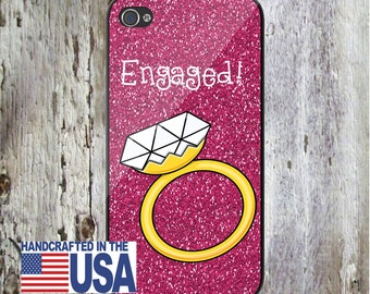 Engaged Diamond Ring Engagement Personalized Phone Case Choice of Color iPhone 6/6S, iPhone 5/5S, iPhone SE, Samsung iPhone7 iPhone 7