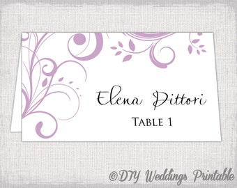 "Printable Place card template Lilac ""Scroll"" name cards -DIY wedding place cards -lilac YOU EDIT Word / Jpg instant download"