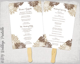 "Printable Wedding fan program template ""Flower Burst"" Mocha brown & ecru DIY order of ceremony Gerber daisy wedding program Word download"