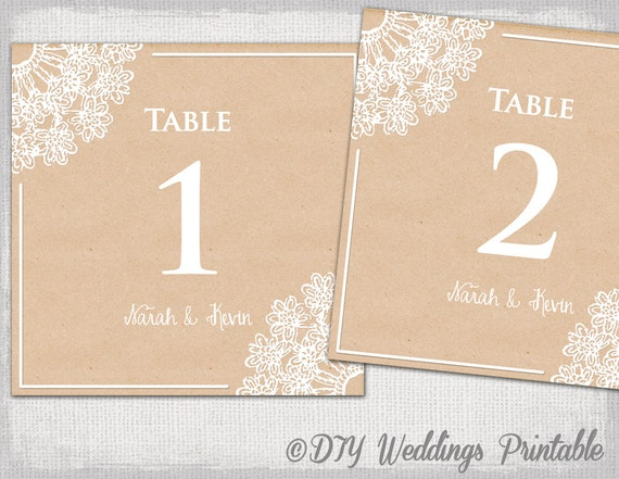 Rustic wedding table number template diy lace doily for Table numbers for wedding reception templates