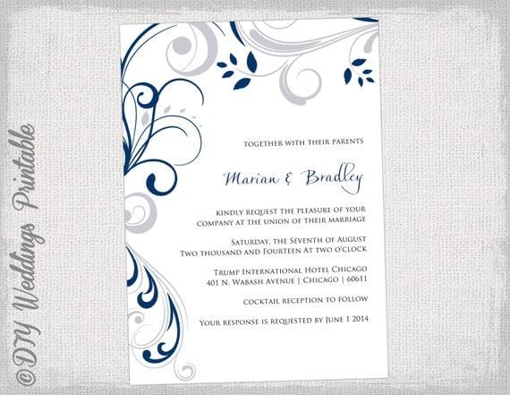 Printable Wedding invitation templates Silver gray and navy