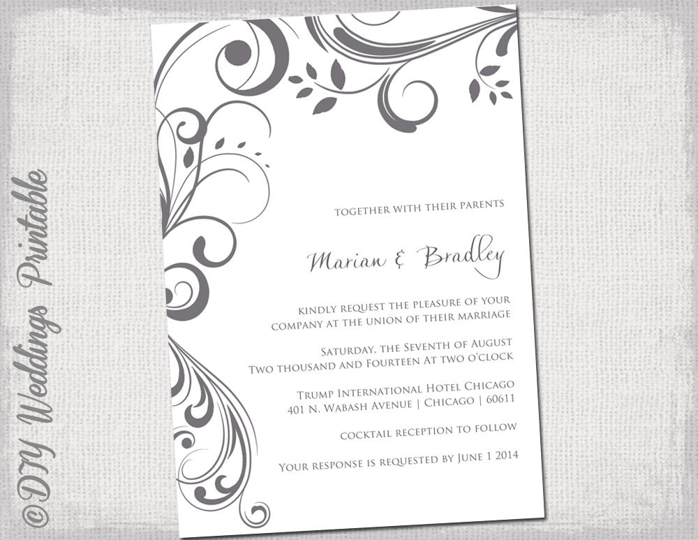 Weddings Invitation Templates: Wedding Invitation Templates Charcoal Gray Scroll