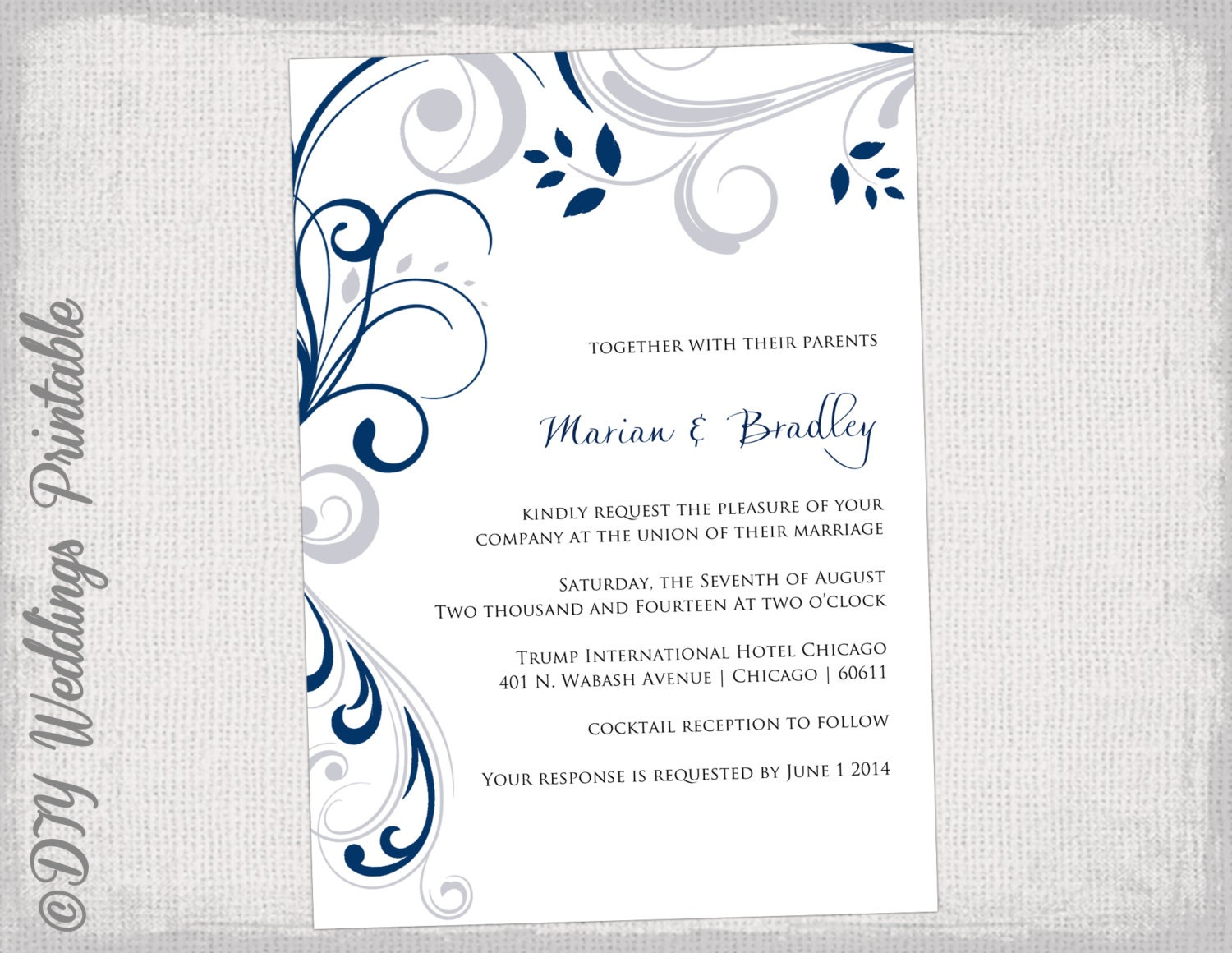 Silver Wedding Invitations: Printable Wedding Invitation Templates Silver Gray And Navy