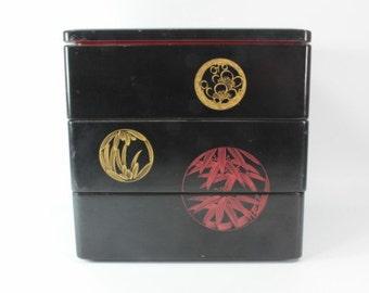 Japanese Lacquered Box, Vintage Japanese Lacquered Box, Handmade Jubako Lunch Box, Jubako Lacquered Lunch Box, Vintage Bento Box, Japanese