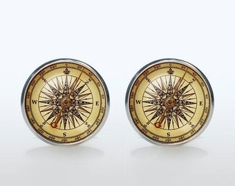 Vintage Compass Cufflinks Silver plated Old Compass Cuff links men and women Accessories Antique (NOT an actual compass, only picture)