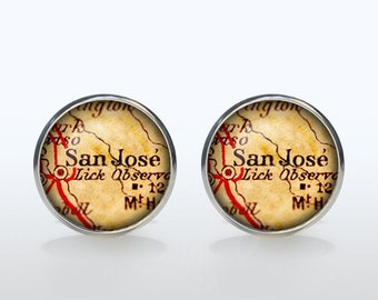 San Jose map Cufflinks Silver plated San Jose vintage map Cuff links men and women Accessories Antique black brown red green