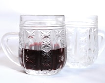 Russian Ornamented Small Pressed Glass Mugs For Mulled Wine, Set Of 5, Vintage Soviet Glass