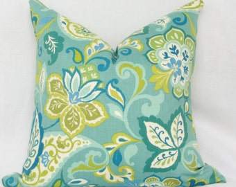 "Teal, green & white  floral decorative throw pillow. 18"" x 18"" toss pillow. 18"" square accent pillow."