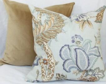 Blue & tan Jacobean floral decorative throw pillow Blue pillow 18x18 floral pillow 12x20 blue pillow 13x20 blue pillow Jacobean pillow cover