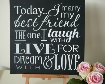 Today I Marry My Best Friend shabby chic wedding sign photo prop