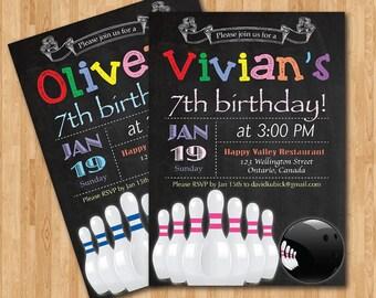Bowling Birthday Invitation. Boy or Girl Bowling Theme Birthday Party Invite. Blue Pink Chevron. 6th 7th 8th any age. Printable Digital DIY