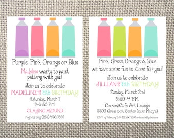 PRINTED or DIGITAL Paint/Art Party Birthday Invitations 5x7 Customized Paint Bottles Design 0.82 each