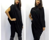 Asymmetric Tunic / Plus Size Tunic / Black Loose Tunic / Oversize Tunic Dress / Black Dress Tunic / Maternity Tunic TT06