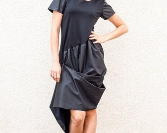Asymmetrical Black Extravagant Dress / Black Dress / Asymmetrical Tunic Dress / Black women Dress TDK06