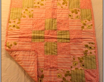 Pink and Green Floral Baby Quilt