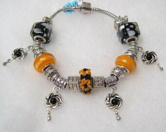 459 - CLEARANCE - Black Orange Dangle Bracelet