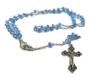 Bright Blue Crystal Rosary