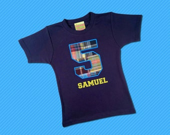 Boy's Birthday Shirt with Plaid Number and Embroidered Name