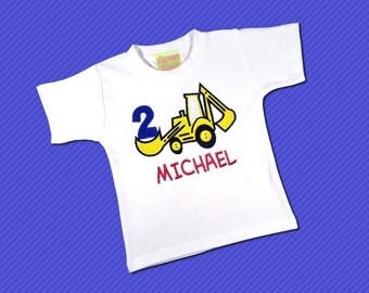 Construction Birthday Shirt with Number and Embroidered Name