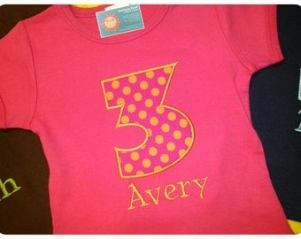Girl's Birthday Number Pink-Orange Dot Top with Embroidered Name