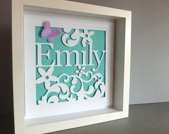 Personalised Named picture - 3D Framed Handmade Paper Artwork