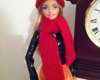 Bright red hat and scarf for Barbie or similar size doll