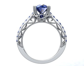 HEIRLOOM LOVE Collection 14kt Round 1.70tcw Sapphires Engagement Ring Wedding Ring Anniversary Ring