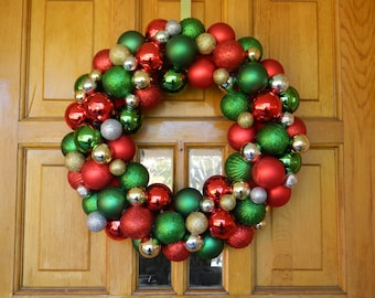 Christmas Ornament Wreath - Ornament Wreath - Holiday Wreath - Red, Green, Gold, and Silver Ornaments