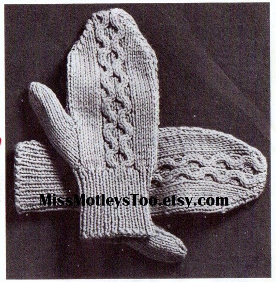 Mitten knitting pattern 2 needle cable style immediate