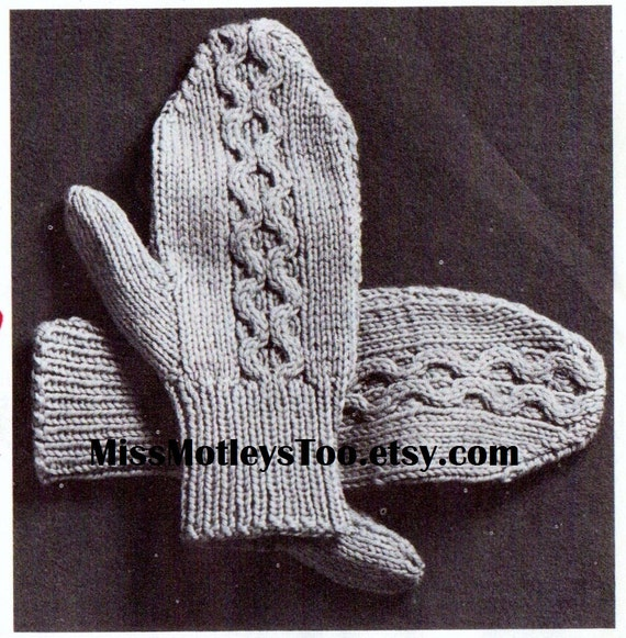 Mitten Knitting Pattern 4 Needles : Mitten knitting pattern 2 needle cable style immediate