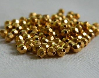 Gold Faceted Spacer Beads 4mm - Small Metal Spacer Bead - Tibet Style Beads - 50 Pieces